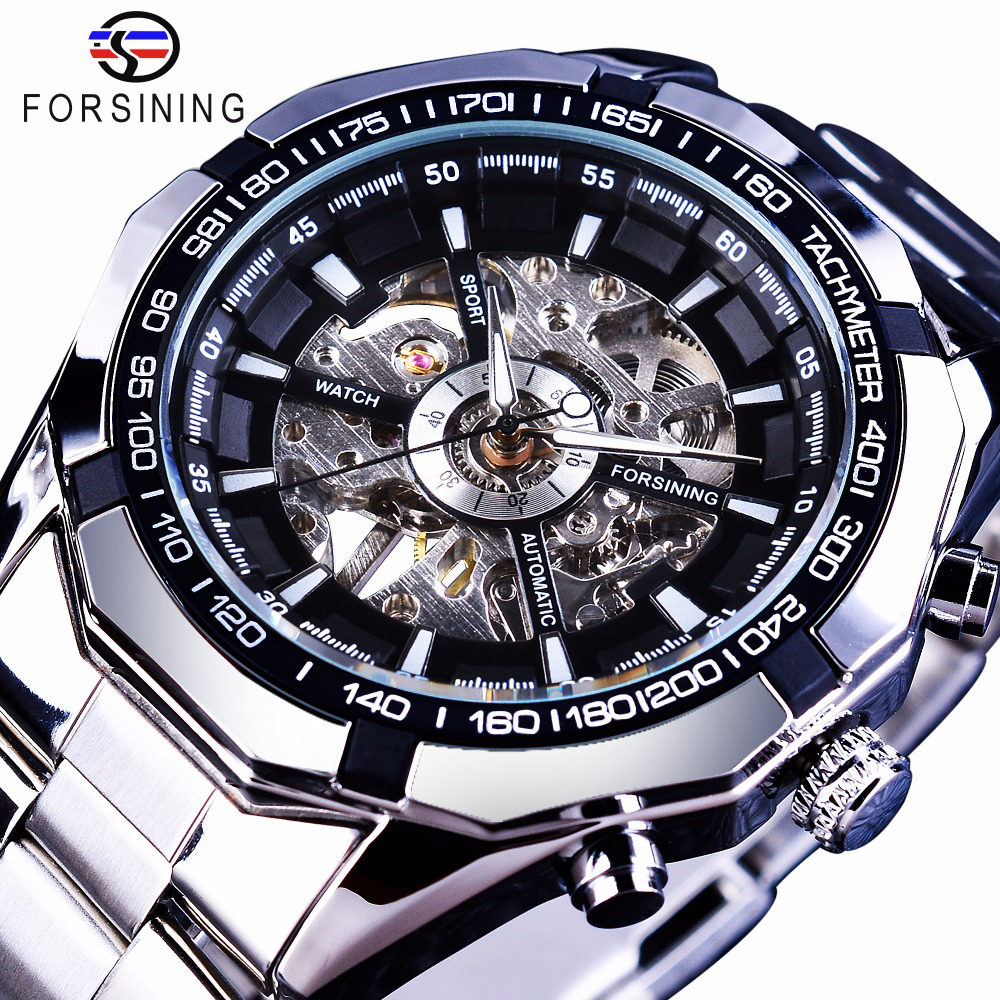Forsining 2017 Silver Stainless Steel Waterproof Mens Skeleton Watches Top Brand Luxury Transparent font b Mechanical