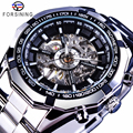 Forsining 2017 plata Acero inoxidable resistente al agua hombres esqueleto relojes marca superior de lujo transparente mecánico hombre reloj de pulsera