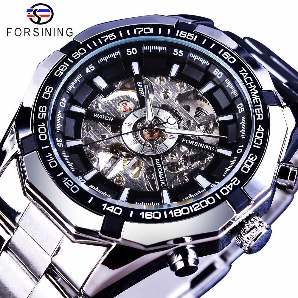 Forsining de plata 2017 de acero inoxidable impermeable para hombre relojes esqueleto superior de la marca de lujo de mecánico transparente hombre reloj de pulsera