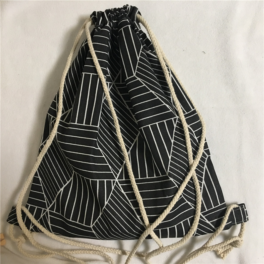 YILE New Cotton Linen Drawstring Travel Backpack Student Book Bag Geometry Black Diamond B411
