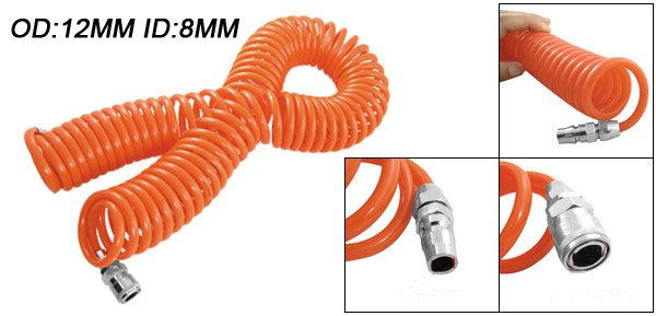 Free Shipping PU Spring Spiral Pneumatic 15M Length 12mm OD 8mm ID Tube Hose Air Brake PU Coil Hose Tube orange 9m length pneumatic components pu8 12mm spring trachea and quick connector pneumatic plastic coil tube pipe hose