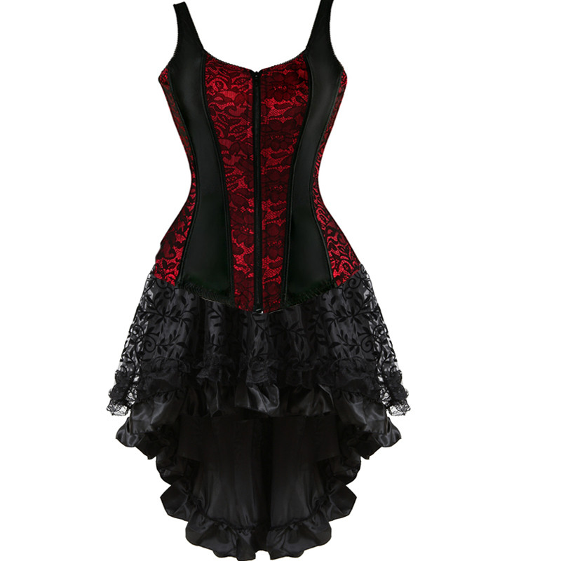 Sexy Zipper Shoulder Straps Overbust Corset Bustier Corset Dress Skirt Flower Fancy Costume Gothic Corsets Women Vintage Linger