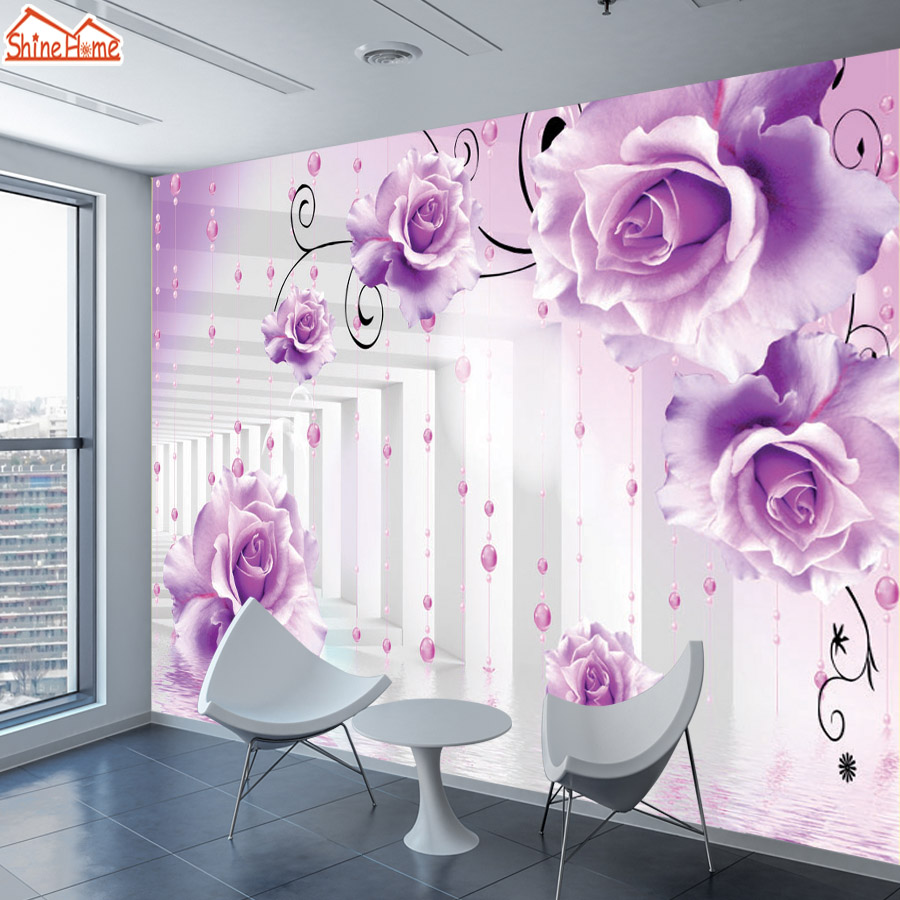 ShineHome-Brick Wallpapers Rolls Rose Floral 3d Room Wallpaper for Walls 3 d Livingroom Floral Abstract Wall Mural Roll Paper luxury vintage floral wallpaper beige abstract wall paper home decor shimmer wallpapers for walls roll