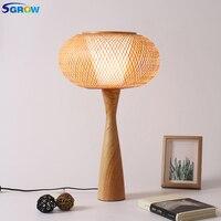 SGROW Фонари Дизайн бамбука Абажур Настольная лампа для столовой Спальня сад деревянное основание Стол Lights светильник с E27 лампы