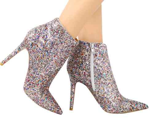 Bling Sequined Zipper Pointed Boots Women High Heeled 10CM Winter Shoes  Casual Fashion Ladies Ankle Boots e98f4dbac083