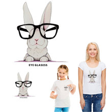 cartoon glasses rabbit ironing sticker patches for clothing transfert thermocollants t-shirt diy clothes bag accessory iron ropa