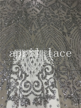 ap2001# 5yards silver sexy floral glued glitter net tulle mesh sugar lace for fashion designer/ wedding/party/lady dress