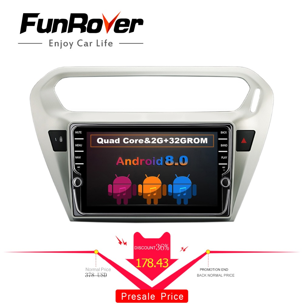 Funrover 8 IPS Android 8.0 2 din Car radio DVD multimedia Player gps navi for Citroen Elysee/ Peugeot 301 2014-2017 stereo wifi женские сапоги zara 2014 3162 301