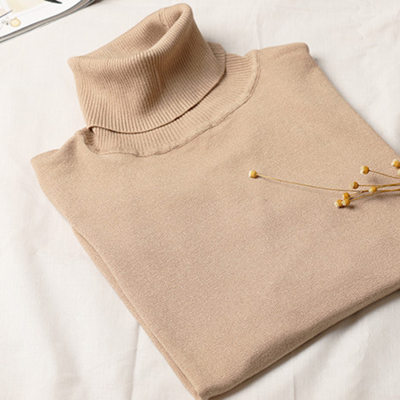 Turtleneck Women Sweater Autumn Winter Knitted Femme Pull High Elastic Female Pullovers Sweater Ladies Warm Female Jumper
