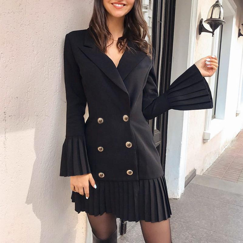 Aartiee Flare <font><b>sleeve</b></font> Ruffle women <font><b>dress</b></font> 2019 Autumn <font><b>winter</b></font> Elegant ladies Button female Black <font><b>Sexy</b></font> party <font><b>dress</b></font> women Vestidos image