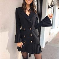 Aartiee Flare sleeve Ruffle women dress 2019 Autumn winter Elegant ladies Button female Black Sexy party dress women Vestidos