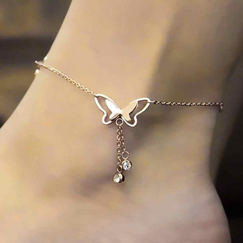QCOOLJLY Simple Heart Anklets เท้าเปล่าโครเชต์รองเท้าแตะเท้ารองเท้าแตะขา New Anklets เท้าข้อเท้าสร้อยข้อมือผู้หญิงขา
