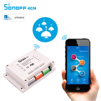Itead Sonoff 4CH Smart Wifi Switch 4-Gang 4-Way Din Rail Mounting on/off Wireless Remote Control Wifi Switch, Smart Home 2200W