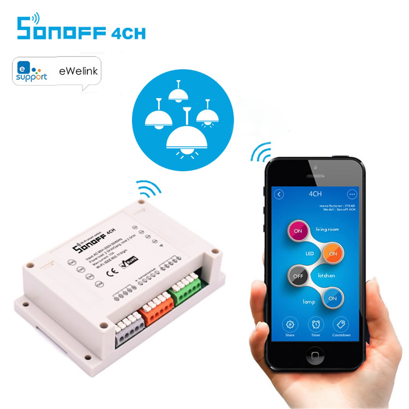 Itead Sonoff Wifi Switch 4CH 4-Gang 4-Way Din Rail Mounting on/off Wifi Remote Control Wireless Switch For Smart Home 10A/2200W eu us itead sonoff touch wifi switch crystal glass panel 1 gang 1 way wifi timing wall switch control via app for smart home