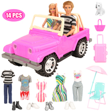 Newest handmade cheap 14 items/set doll Accessories = 1 toy SUV +13 lover travel clothes For Barbie Ken couple
