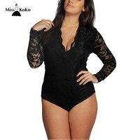 Misskoko Plus Size Lace Bodysuits Women New Sexy V Neck Long Sleeve Romper Skinny Jumpsuits Big