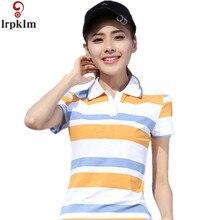 2017 Causal Slim Short Sleeve Fashion Shirts Polo Women Plus Size Fashion Yellow Blue Cotton polo