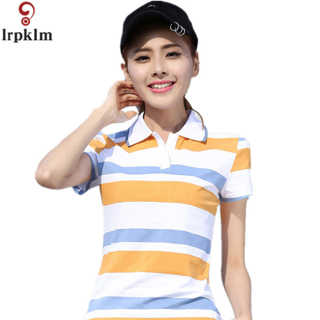 US $16.58 49% OFF|2017 Causal Slim Short Sleeve Fashion Shirts Polo Women  Plus Size Fashion Yellow Blue Cotton polo femme cheval Ladies Polo YY675-in  ...