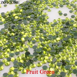 ZOTOONE Fruit Green Resin Nail Art Rhinestones Hotfix Strass Crystal Applique Flatback Rhinestones For Clothing Crafts Fabric E