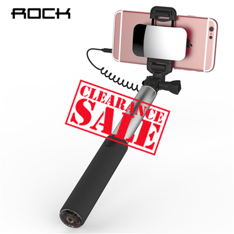 ROCK Simpiz Selfie Stick With Mirror for iPhone Xiaomi Samsung For IOS/ Android Universal Phone Wired Phone Holder 90cm unbrand selfie stick htc samsung iphone 800 123 104