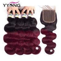 Yyong Ombre 1B/99J Бразильский объемная волна с закрытием Профессиональный бордовый человеческих волос 4 Связки пакет цвет красного вина человечес