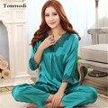 2016 Nova Kaoulan Pijama Estabelecidos Para As Mulheres Femmes Das Senhoras de Seda pijamas de Manga Comprida Camisola De Seda Plus Size 3XL