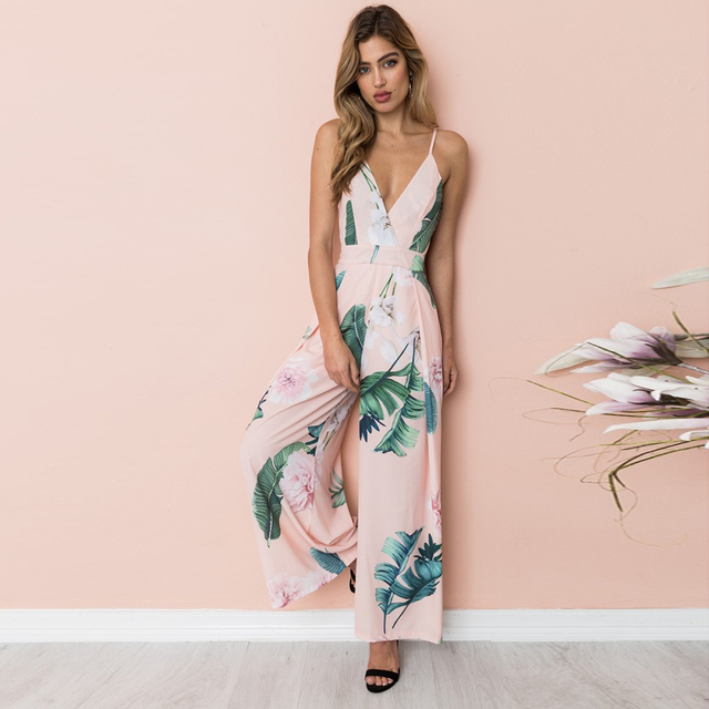 f3dc9e17ae YJSFG HOUSE New Women Jumpsuits Clubwear Summer Wide Leg Pants Playsuit  Bodycon Party Jumpsuit Romper Trousers Print Sexy Bow