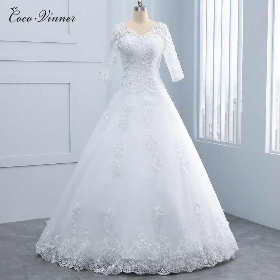 V Neck Half Sleeve White Vintage Wedding Dresses A Line
