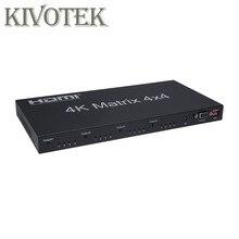HDMI מטריקס מתג FullHD 4K 2K 3D 1080P 4X4 4x2 Switcher ספליטר ממיר מתאם, IR שליטה + AC3 אודיו עבור HDTV משלוח חינם