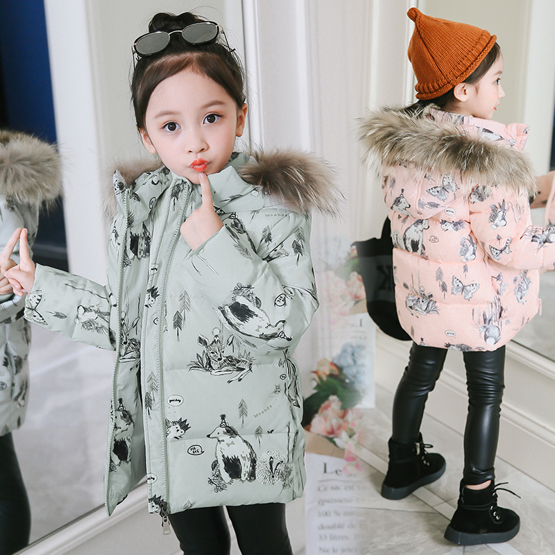 Winter Down Jacket Parka For Girls Coat Children Clothing Hooded Snow Wear Animal Printing Jacket Kids Outerwear Coats 3-8 Years цены