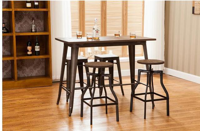 003 En Bois Massif Bar Table Et Chaise Petite Table Ronde Tabouret