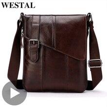 Westal bandolera de piel auténtica para hombre y mujer, maletín de trabajo de negocios para oficina, bolso de mano para tableta, Portafolio
