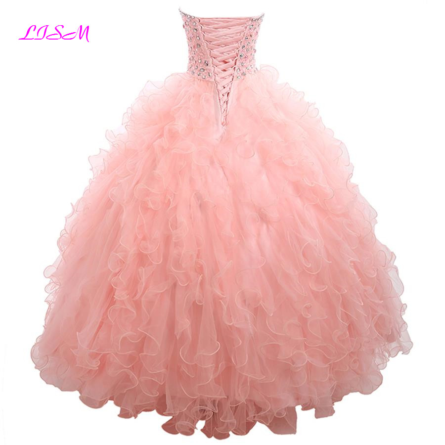 Real Photos Sweetheart Sparking Crystals Organza Quinceanera Dresses 2019 Plus Size Pink Sweet 16 Ball Gowns Vestidos De 15 Anos