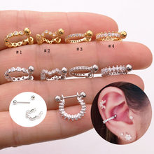 Sellsets 1piece 2019 new styles stainless steel barbell CZ hoop septum ear tragus cartilage rook piercing nipple ring(China)
