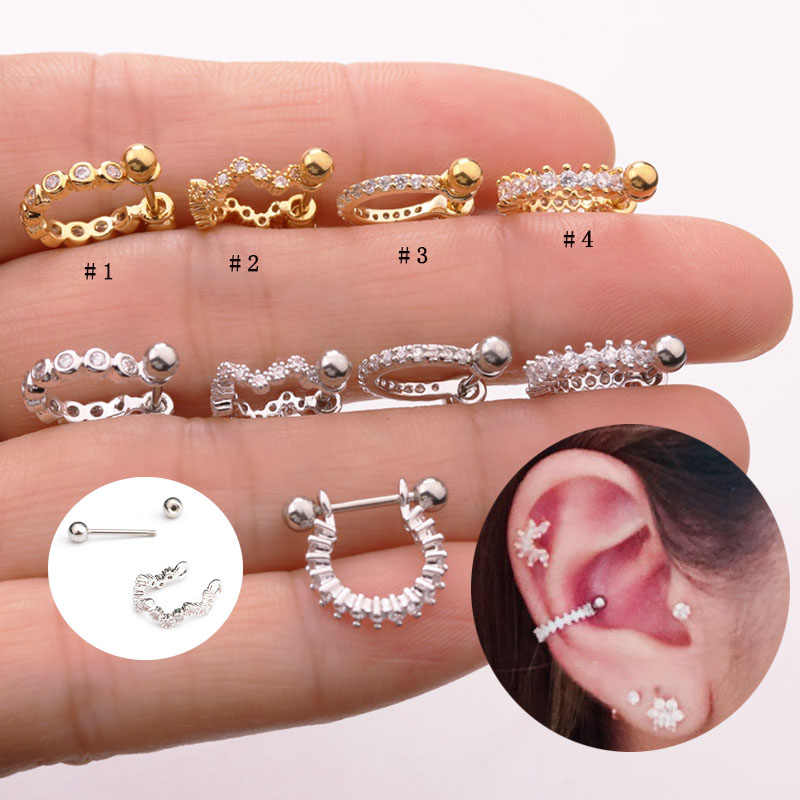 Sellsets 1piece 2019 new styles stainless steel barbell CZ hoop septum ear tragus cartilage rook piercing nipple ring