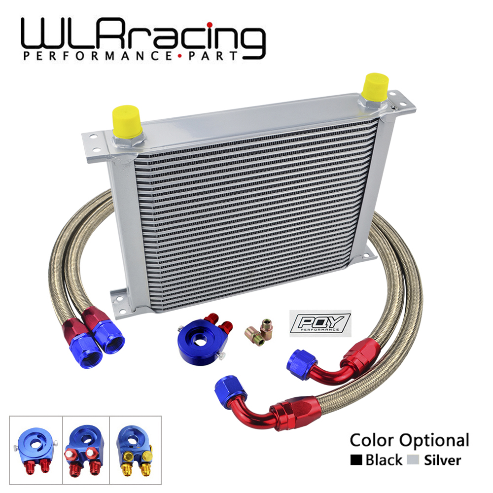 WLR - AN10 OIL COOLER KIT 30 ROWS OIL COOLER + OIL FILTER ADAPTER + NYLON STAINLESS STEEL BRAIDED HOSE WITH PQY STICKER+BOX цена