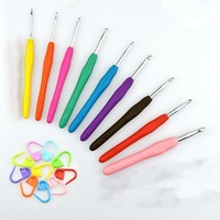 9Pcs Set Colorful Soft Silicone TRP Handle Aluminum Crochet Hooks Stitches Knitting Needles For Loom Tool