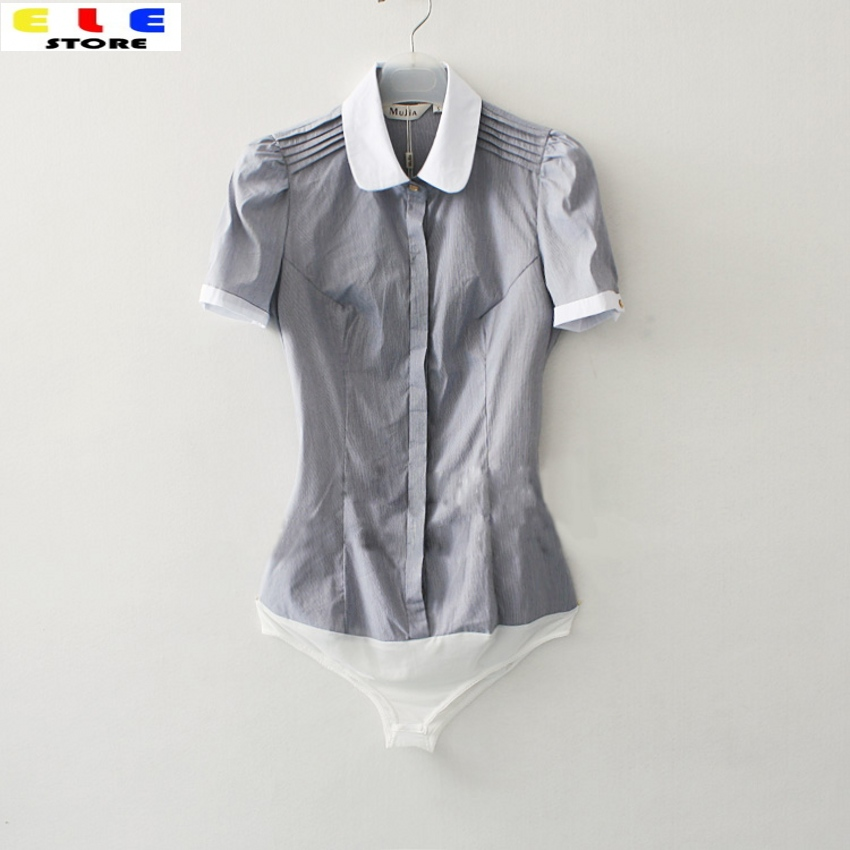 Мода г. Для женщин летние Блузки для малышек Повседневное короткий рукав тонкий небольшой полосатый офисные Средства ухода за кожей рубашка для дам сусла Топы корректирующие S-XL