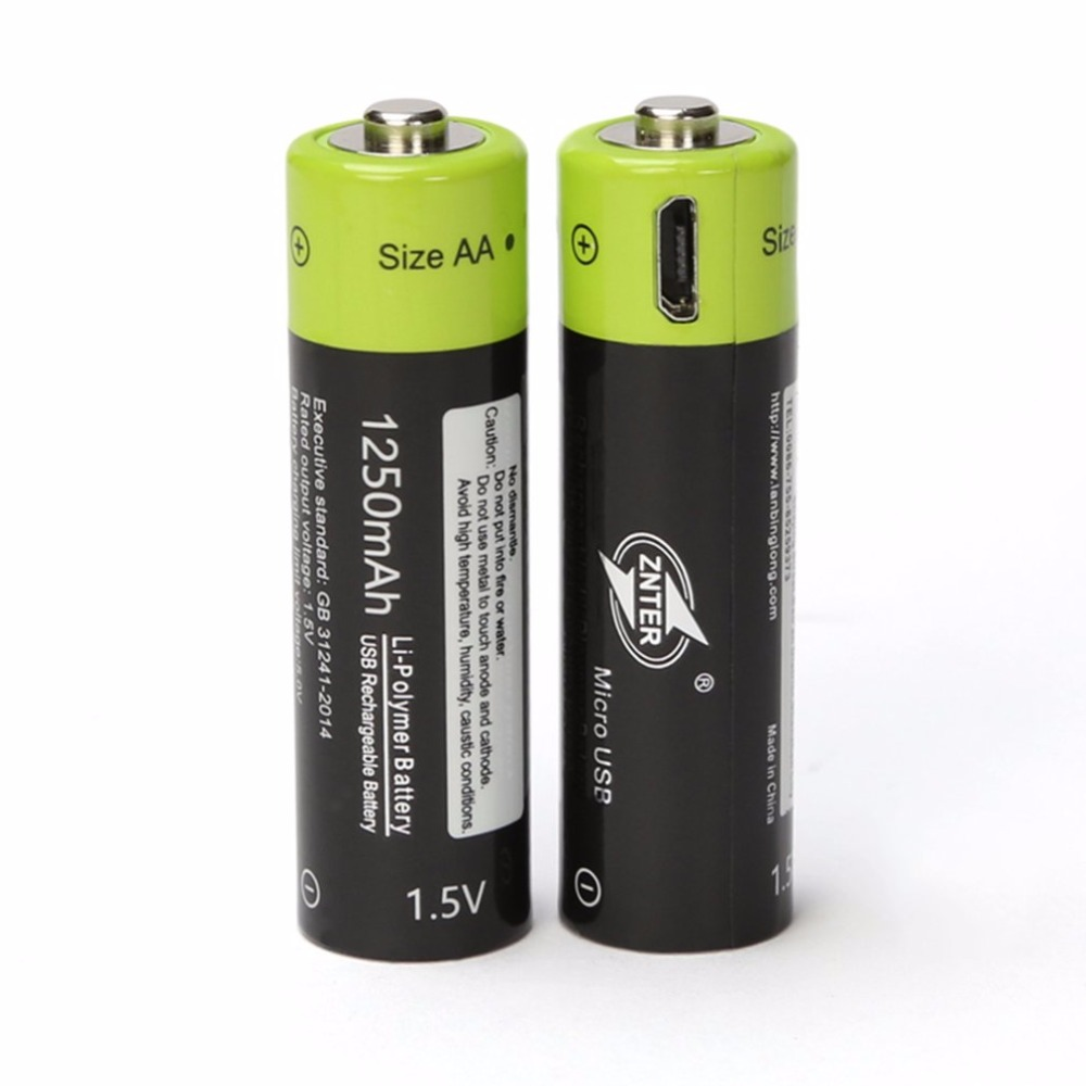 ZNTER 2pcs Universal AA 1.5V 1250mAh USB Rechargeable Lithium Polymer Battery Charged by Micro USB Cable
