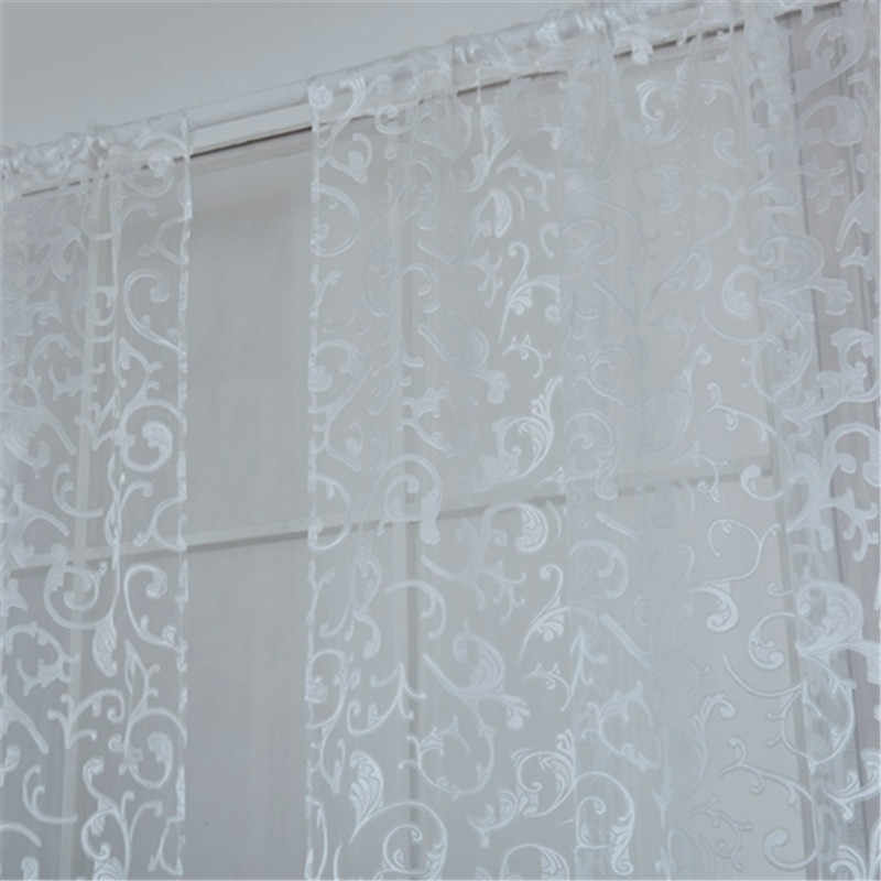 Classical China Style Floral Sheer Voile Curtain Chic Room Flower Sheer Curtains Ready Made Tulle Fabrics Blinds