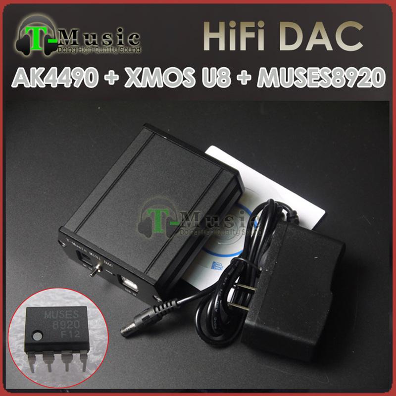 Prix pour T-Musique MiNi HiFi DAC AK4490 + MUSES8920 + XMOS U8 USB DAC Décodeur W/3.5mm Casque sortie + Puissance adaptateur