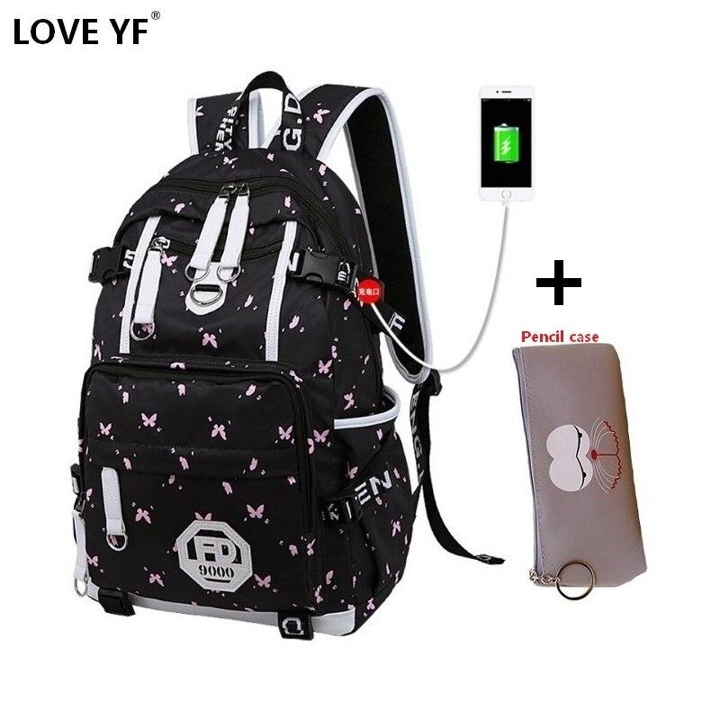 871360ad746a USB рюкзак с зарядным устройством для женщин колледж девушка школьный сумка  рюкзак с принтом непромокаемый школьные