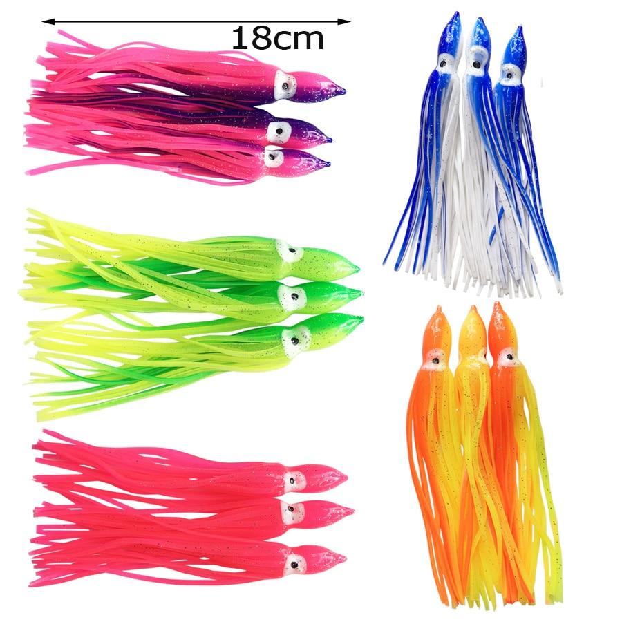 100PCS LOT18CM Squid Skirt Fishing Lure Soft Trolling Fishing Jigging Lure Sea Fishing Squid Jigs Artificial