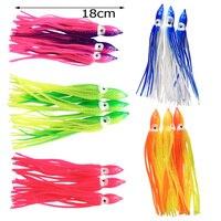 100PCS/LOT18CM Squid Skirt Fishing Lure Soft Trolling Fishing Jigging Lure Sea Fishing Squid Jigs Artificial Soft Bait