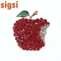 50/100pcs Fashion red apple fruit brooch pins charming sparkly rhinestone Christmas brooch pin jewelry for wedding decoration