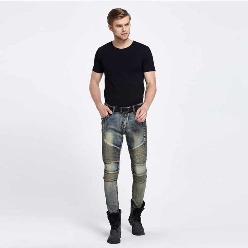 Опт и розница мужские s обтягивающие мужские джинсы 2016 новые брендовые Подиумные тонкие эластичные джинсовые байкерские джинсы хип-хоп мотоциклетные брюки карго