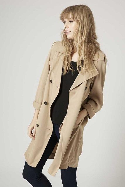 2016 nova Europeu de pé alto duplo breasted casaco vestido solto blusa 6842