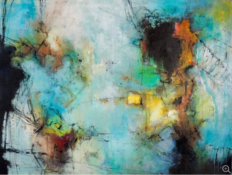 Nejnovější ručně vyráběné abstraktní olejomalba na plátně Moderní zelená krajinomalba pro dekorace v obývacím pokoji