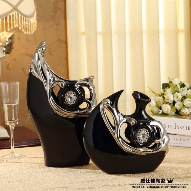 Modern Porcelain Flower Vases Decoration For Home Black With Silver Ceramic Vase 2 Pieces Decorative Vessels Craft Free Shipping