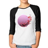 High Quality Pink Moon T Shirts Women 3 4 Raglan Sleeve Sakura Flowers Japanese Cherry Blossom